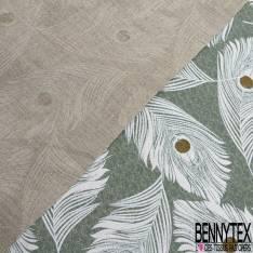 Toile Lin Imprimé Modèle melusine grand carré a motif Fond ivoire