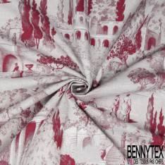 Toile Coton Torchon Imprimé Quadrillage Beige Rouge fond Crème