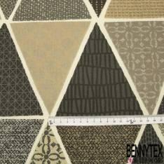 Coton Enduit Impression Patch Crochet Seventies ton Multicolore