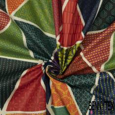 Coton Enduit Impression Grand Triangle Fantaisie ton Multicolore