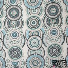Coton Enduit Impression Grande Rosace Brodée ton Bleu