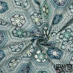 Coton Enduit Impression Patch Crochet Seventies ton Bleu
