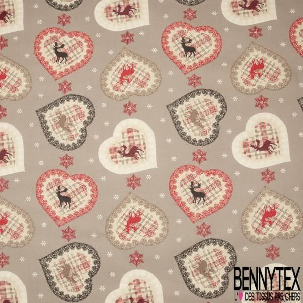 Coton Enduit Impression Hivernale Shabby Coeur Flocon Cerf fond Taupe