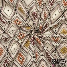 Coton Enduit Impression Losange Amérindien ton Bordeaux Camel Moutarde