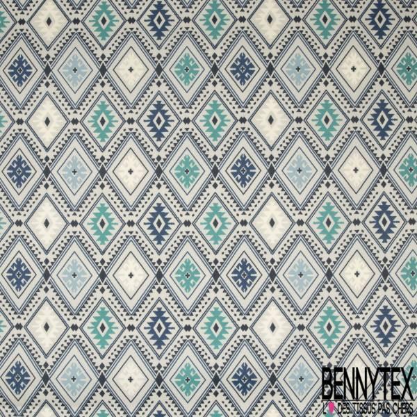 Coton Enduit Impression Losange Amérindien ton Turquoise Bleu Roi Blanc