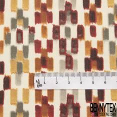 Coton Enduit Impression Petit Rectangle Camaïeu de Brun fond Blanc esprit Amérindien