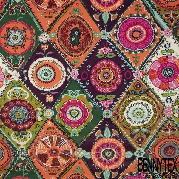 Coton Enduit Impression Grand Cachemire Seventies Multicolore