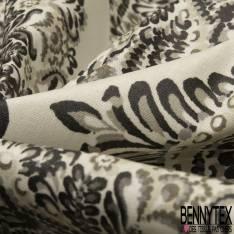 Coton Enduit Impression Grand Losange Fantaisie Cachemire Taupe fond Blanc