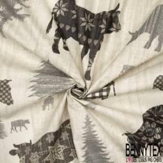 Coton Enduit Impression Vache fantaisie broutant dans les Alpages fond fantaisie Gris Perle