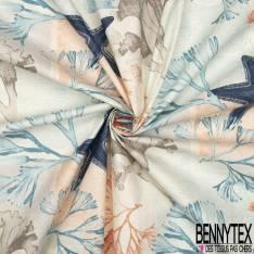 Coton Enduit Impression fond Marin Etoile de Mer Corail Coquillage ton Orange Bleu Aquarelle