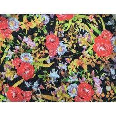 Coton Imprimé Fleurs Rouge Parme Feuilles Maron Fond Noir