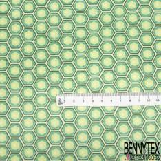 Coton Imprimé Motif Hexagone Seventies Anis Turquoise