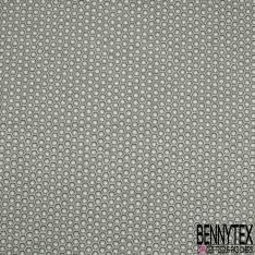 Coton Imprimé Motif Hexagone Seventies Anthracite Souris