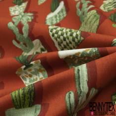 Coton Imprimé Cactus en Pot All Over fond Orange Brûlé