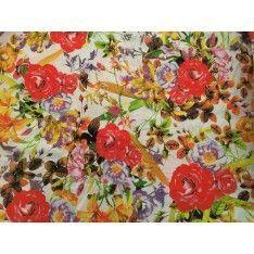 Coton Imprimé Fleurs Rouge pParme Feuilles Maron Fond Blanc