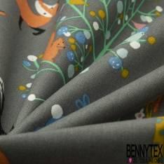 Coton Imprimé Animaux et Licornes à la Fenêtre fond Rose Dragées