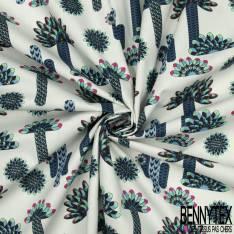 Coton Impression Eventail de Plume ton Bleu Vert fond Blanc