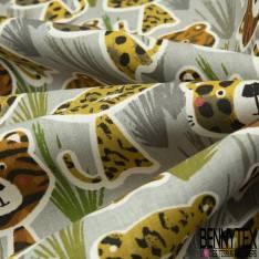 Coton Impression Bébé Félin de la Jungle fond Gris