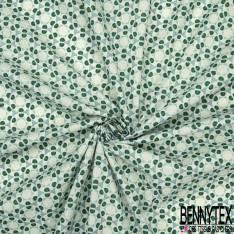 Coton Impression Rond Fantaisie ton vert sapin fond Ecru effet Aquarelle