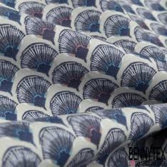 Coton Impression Eventail Fantaisie Corail Indigo Marine fond Perle