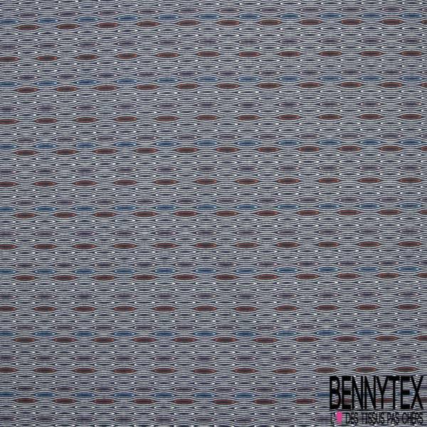 Coton Impression Ethnique Corail Rouge Turquoise fond Blanc