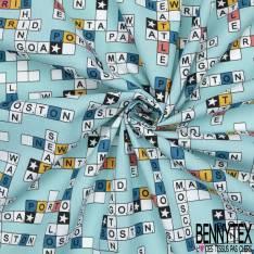 Coton Impression Scrabble Géant fond Bleu Turquoise