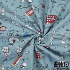 Coton Impression thème Londres Stylisé fond Bleu de Gris