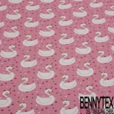 Jersey Coton Elasthanne Imprimé Lac des Cygnes fond Rose