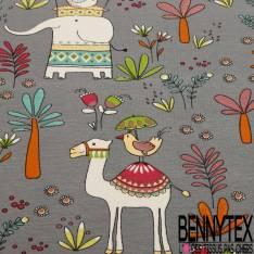 Jersey Coton Elasthanne Imprimé Eléphant Indien et Chameau fond Souris