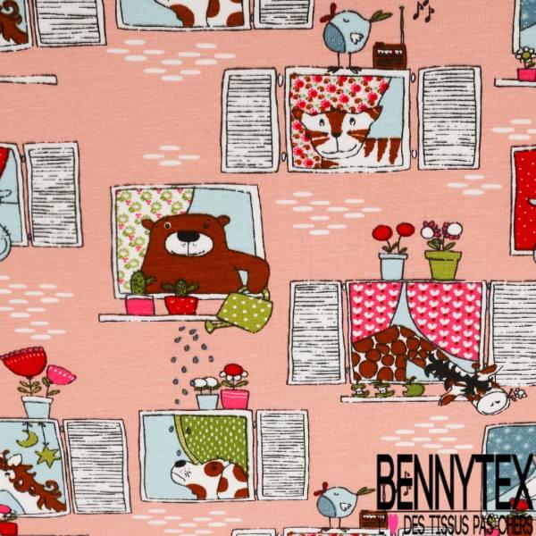Jersey Coton Elasthanne Imprim Animaux et Licornes à la Fenêtre fond Rose Dragées