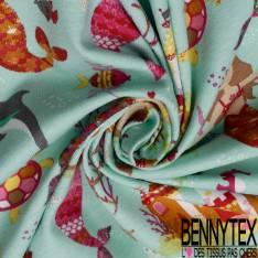 Jersey Coton Elasthanne Imprimé Petite Sirène dans la Mer fond Vert d'eau