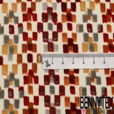 Jersey Coton Elasthanne Imprimé Petit Rectangle Stylisé Amérindien Ocre Choco fond Ecru