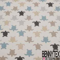 Coton Impression Petite Tortue Beige Gris Bleu fond Ecru