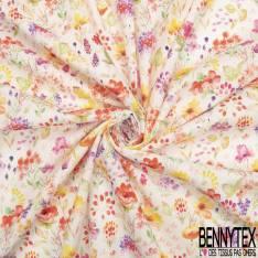 Coton Impression Artifice de Fleur Printannière Multicolore fond Blanc