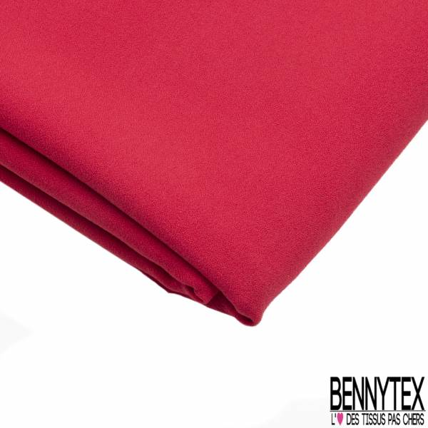 Coupon 3m Double Crêpe Polyester Elasthanne Uni Rouge Passion