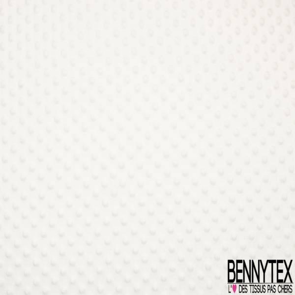 Minky Pois effet Gaufré Uni Blanc Optique