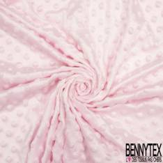 Minky Pois effet Gaufré Uni Rose Layette