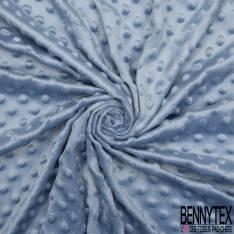 Minky Pois effet Gaufré Uni Bleu Layette