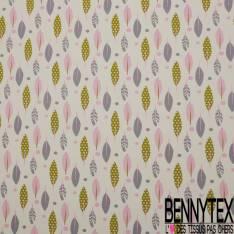 Jersey Coton Elasthanne Imprimé Plume Indienne Fantaisie Gris Rose Anis fond Crème