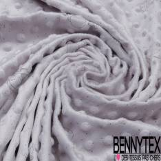 Minky Pois effet Gaufré imprimé Eléphant Plumetis Gris fond Perle