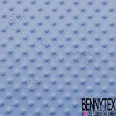 Minky Pois effet Gaufré imprimé Eléphant Plumetis Marine fond Bleu Layette