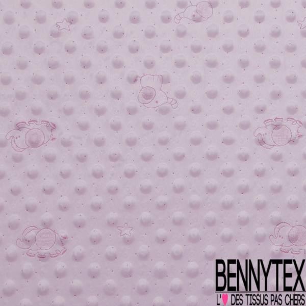 Minky Pois effet Gaufré imprimé Eléphant Plumetis Framboise fond Rose Layette
