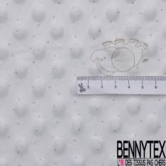 Minky Pois effet Gaufré imprimé Eléphant Plumetis Kaki fond Blanc Optique