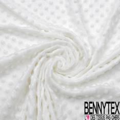 Minky Pois effet Gaufré Uni Blanc Cassé