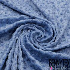 Minky Pois effet Gaufré imprimé Tête d'Ourson Marine fond Bleu Layette