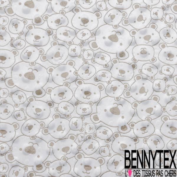Minky Pois effet Gaufré imprimé Tête d'Ourson Kaki fond Blanc Optique