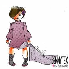 Minky Pois effet Gaufré imprimé Tête d'Ourson Framboise fond Rose Layette