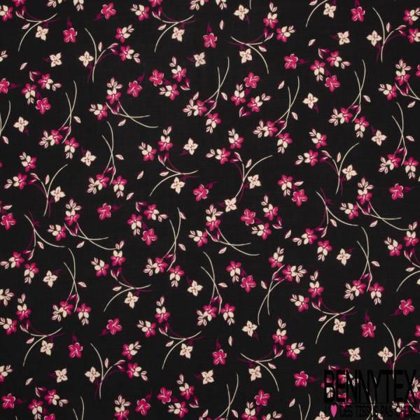 Fibranne Viscose imprimé Petite Fleur Champêtre Fushia Ecru fond Plumetis Noir