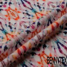 Fibranne Viscose imprimé Motif Caleïdoscope Multicolore fond Blanc