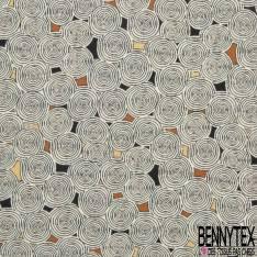 Voile de Coton Imprimé Ethnique Spirale Psychédélique Noir Blanc Ocre Beige